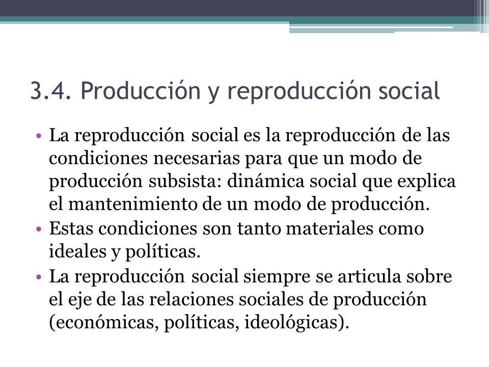 3.4. Producción y reproducción social La reproducción social es la reproducción de las condiciones necesarias para que un modo de producción subsista:
