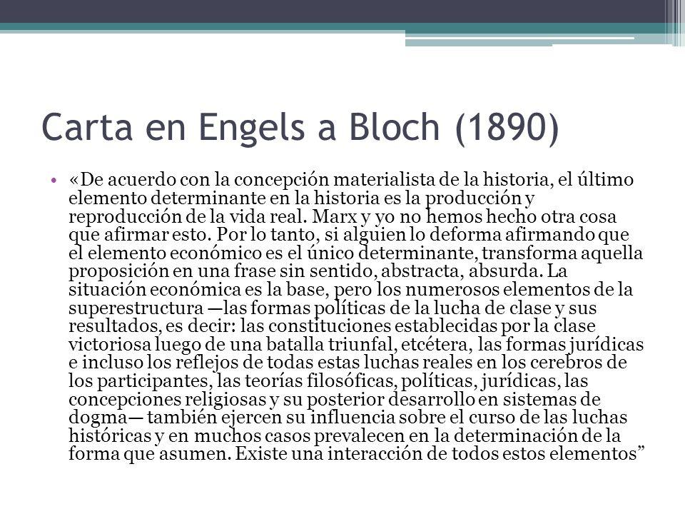 Carta en Engels a Bloch (1890) «De acuerdo con la concepción materialista de la historia, el último elemento determinante en la historia es la producc