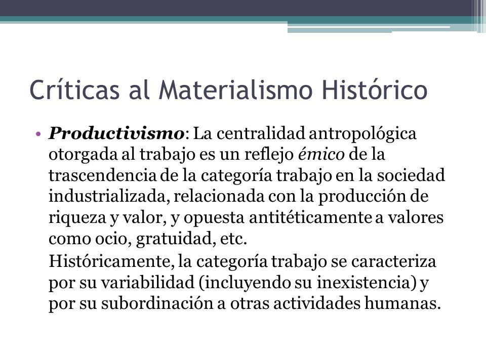 Críticas al Materialismo Histórico Productivismo: La centralidad antropológica otorgada al trabajo es un reflejo émico de la trascendencia de la categ