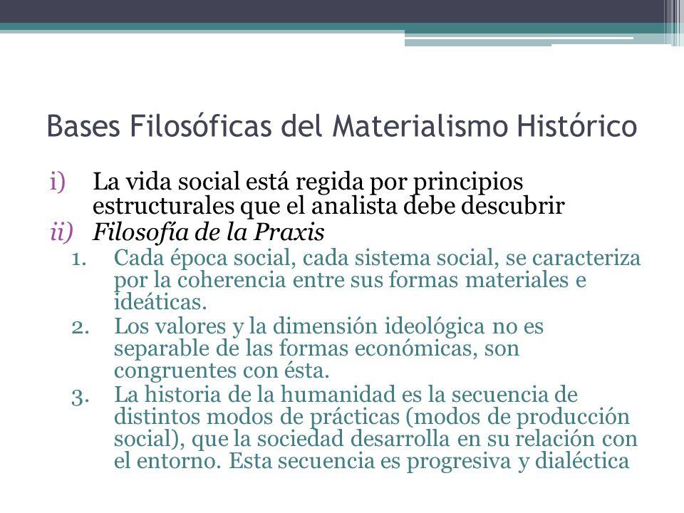 Bases Filosóficas del Materialismo Histórico i)La vida social está regida por principios estructurales que el analista debe descubrir ii)Filosofía de