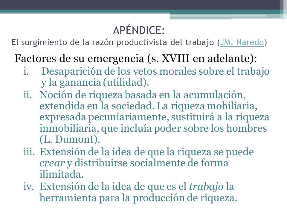 APÉNDICE: El surgimiento de la razón productivista del trabajo (JM. Naredo)JM. Naredo Factores de su emergencia (s. XVIII en adelante): i.Desaparición