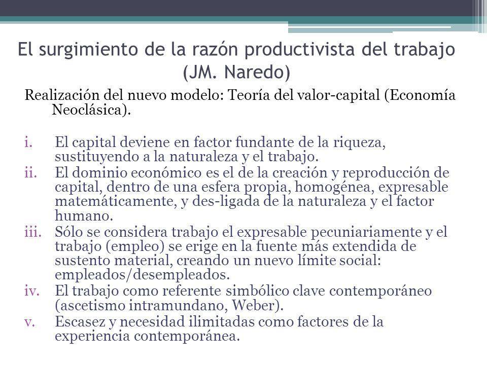 El surgimiento de la razón productivista del trabajo (JM. Naredo) Realización del nuevo modelo: Teoría del valor-capital (Economía Neoclásica). i.El c