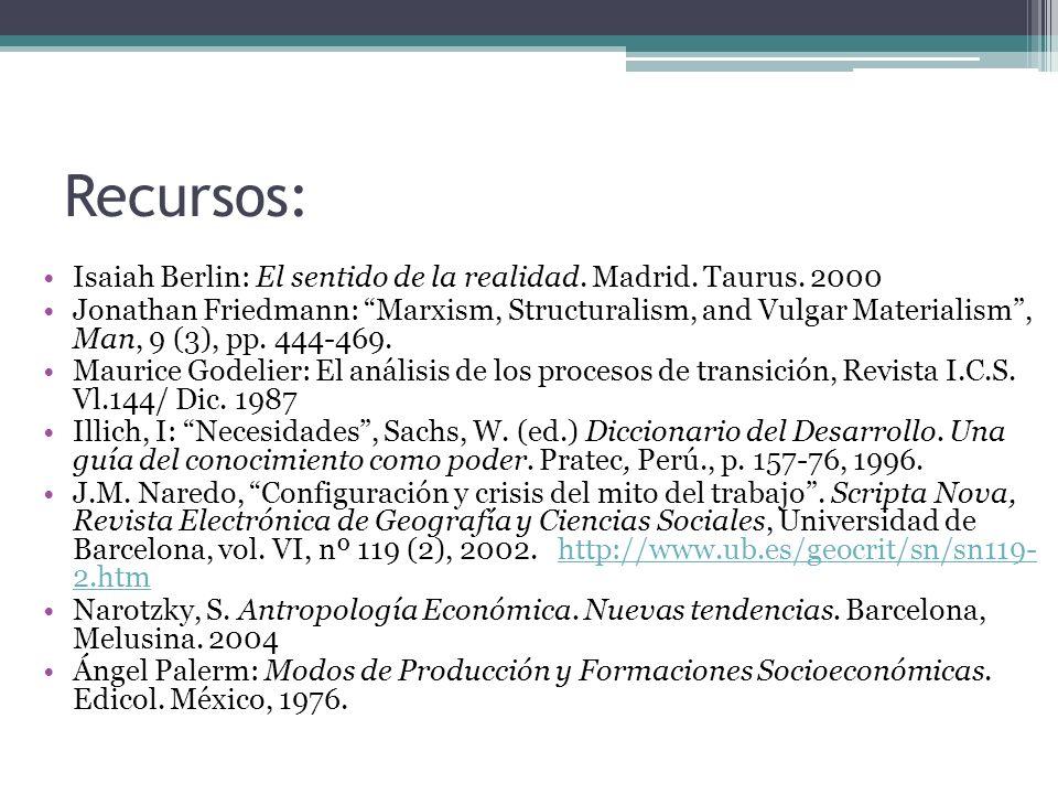 Recursos: Isaiah Berlin: El sentido de la realidad. Madrid. Taurus. 2000 Jonathan Friedmann: Marxism, Structuralism, and Vulgar Materialism, Man, 9 (3