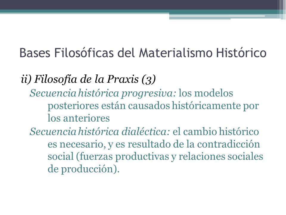 Bases Filosóficas del Materialismo Histórico ii) Filosofía de la Praxis (3) Secuencia histórica progresiva: los modelos posteriores están causados his