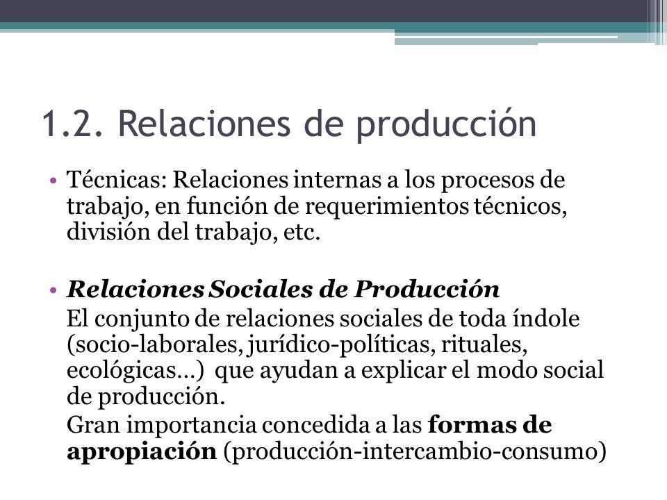 1.2. Relaciones de producción Técnicas: Relaciones internas a los procesos de trabajo, en función de requerimientos técnicos, división del trabajo, et