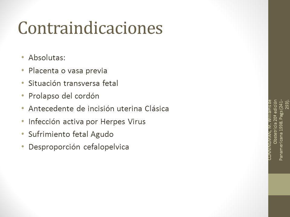 Contraindicaciones Absolutas: Placenta o vasa previa Situación transversa fetal Prolapso del cordón Antecedente de incisión uterina Clásica Infección activa por Herpes Virus Sufrimiento fetal Agudo Desproporción cefalopelvica CUNNINGMAN, M.