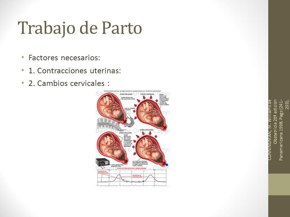 Trabajo de Parto Factores necesarios: 1. Contracciones uterinas: 2. Cambios cervicales : CUNNINGMAN, M. Williams de Obstetricia 20ª edición Panamerica