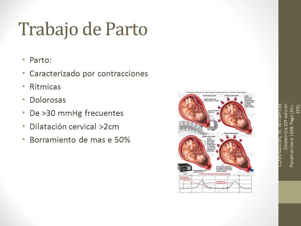 Trabajo de Parto Parto: Caracterizado por contracciones Rítmicas Dolorosas De >30 mmHg frecuentes Dilatación cervical >2cm Borramiento de mas e 50% CUNNINGMAN, M.