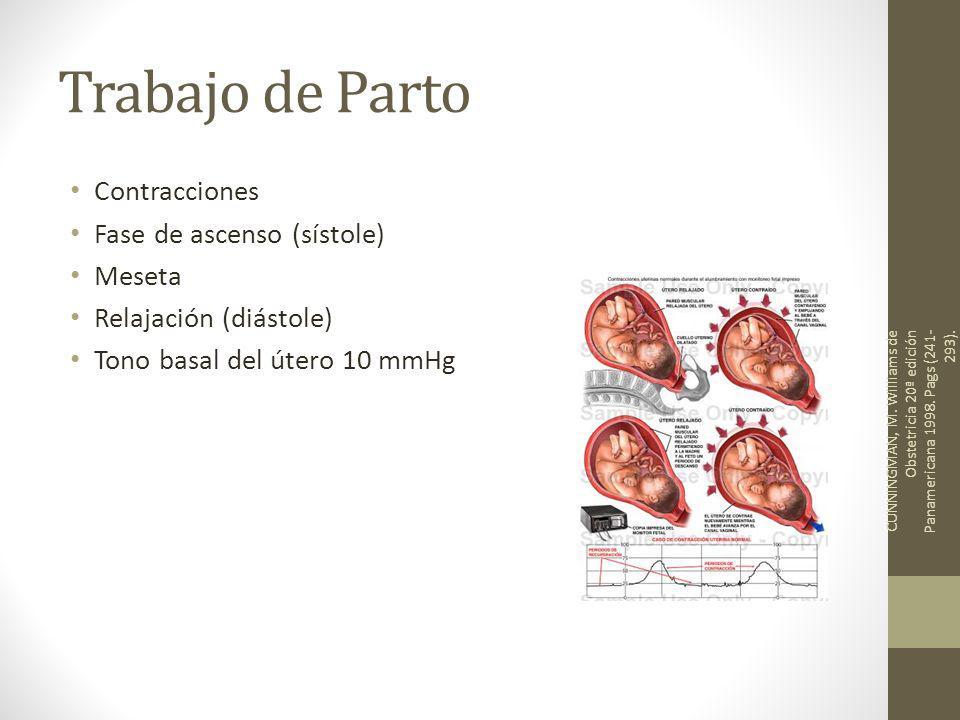 Trabajo de Parto Contracciones Fase de ascenso (sístole) Meseta Relajación (diástole) Tono basal del útero 10 mmHg CUNNINGMAN, M. Williams de Obstetri