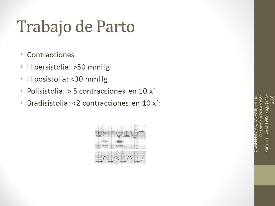 Trabajo de Parto Contracciones Hipersistolia: >50 mmHg Hiposistolia: <30 mmHg Polisistolia: > 5 contracciones en 10 x´ Bradisistolia: <2 contracciones en 10 x´: CUNNINGMAN, M.