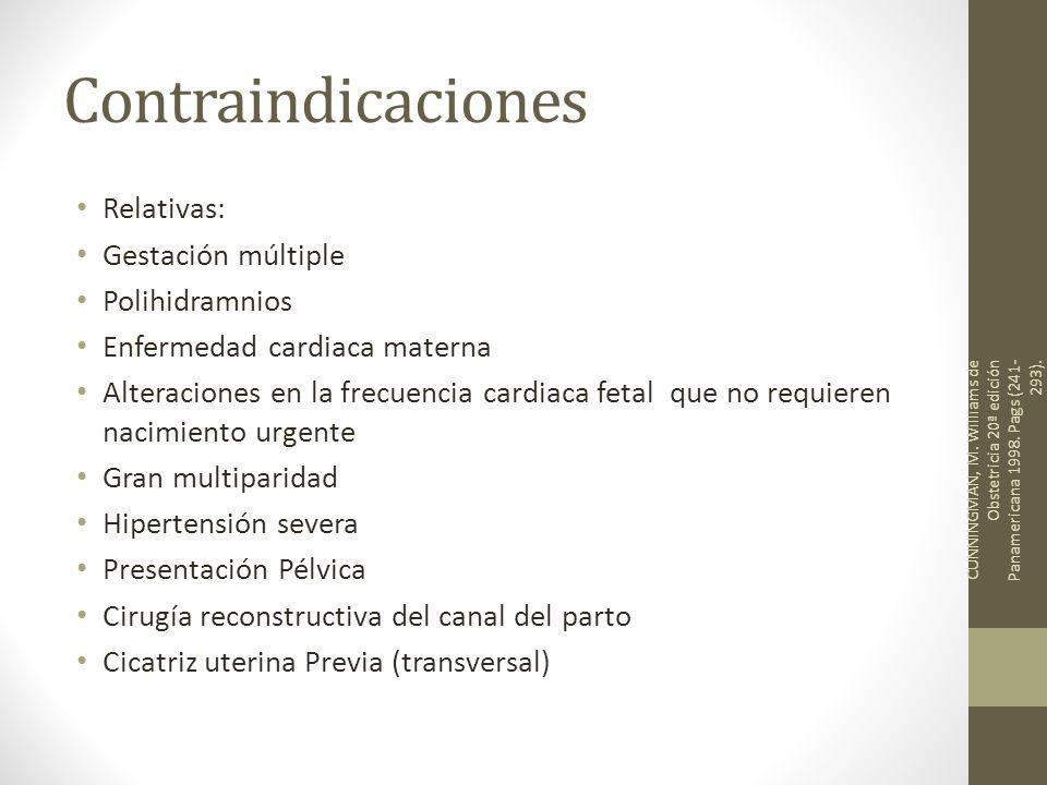 Contraindicaciones Relativas: Gestación múltiple Polihidramnios Enfermedad cardiaca materna Alteraciones en la frecuencia cardiaca fetal que no requie