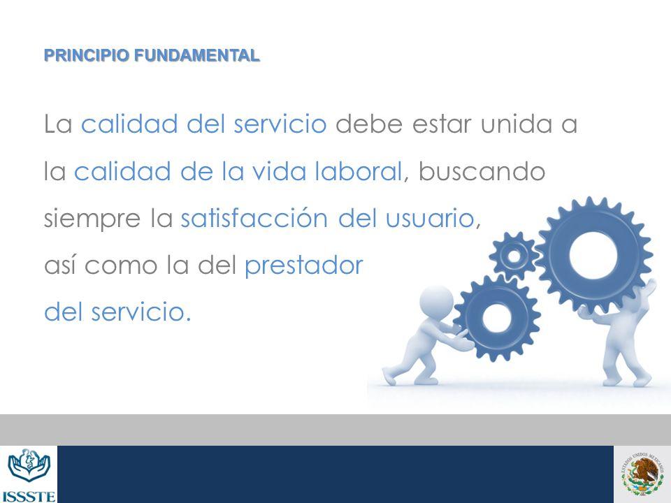 La calidad del servicio debe estar unida a la calidad de la vida laboral, buscando siempre la satisfacción del usuario, así como la del prestador del