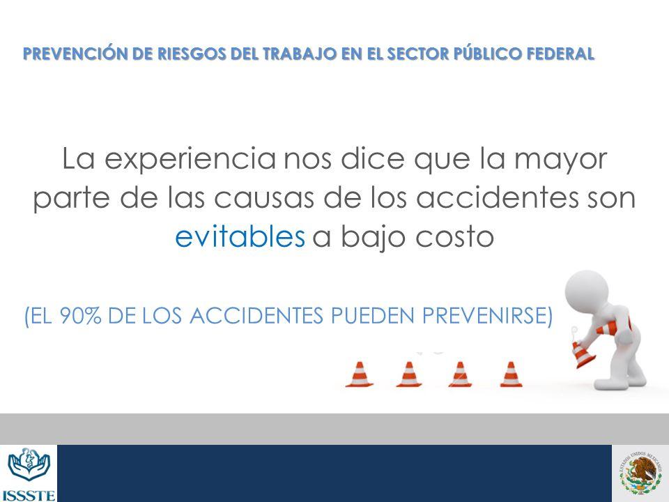La experiencia nos dice que la mayor parte de las causas de los accidentes son evitables a bajo costo (EL 90% DE LOS ACCIDENTES PUEDEN PREVENIRSE) PRE
