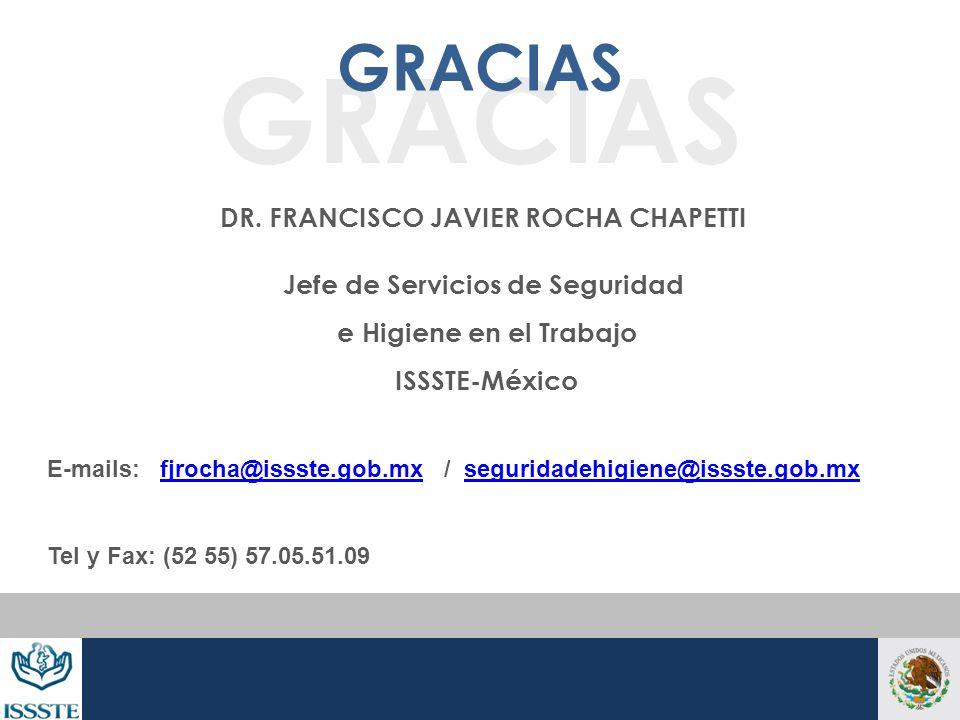 DR. FRANCISCO JAVIER ROCHA CHAPETTI Jefe de Servicios de Seguridad e Higiene en el Trabajo ISSSTE-México E-mails: fjrocha@issste.gob.mx / seguridadehi