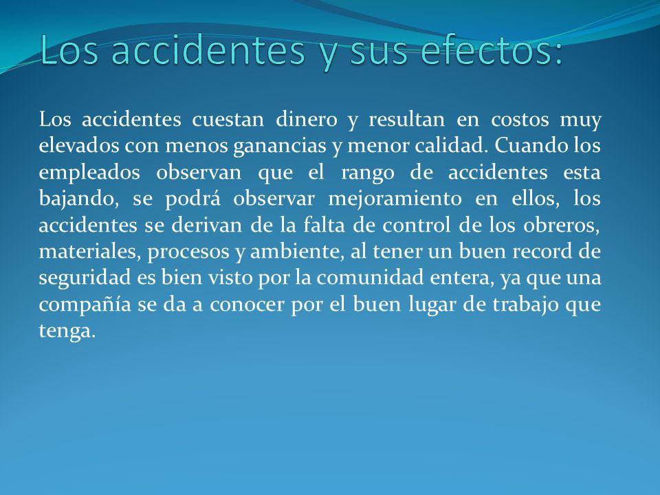 Costo de accidente, en estos se envuelven gastos médicos como compensaciones o costos de seguro y perdida en la producción.