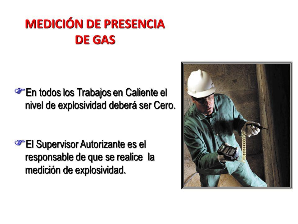 MEDICIÓN DE PRESENCIA DE GAS En todos los Trabajos en Caliente el nivel de explosividad deberá ser Cero. En todos los Trabajos en Caliente el nivel de