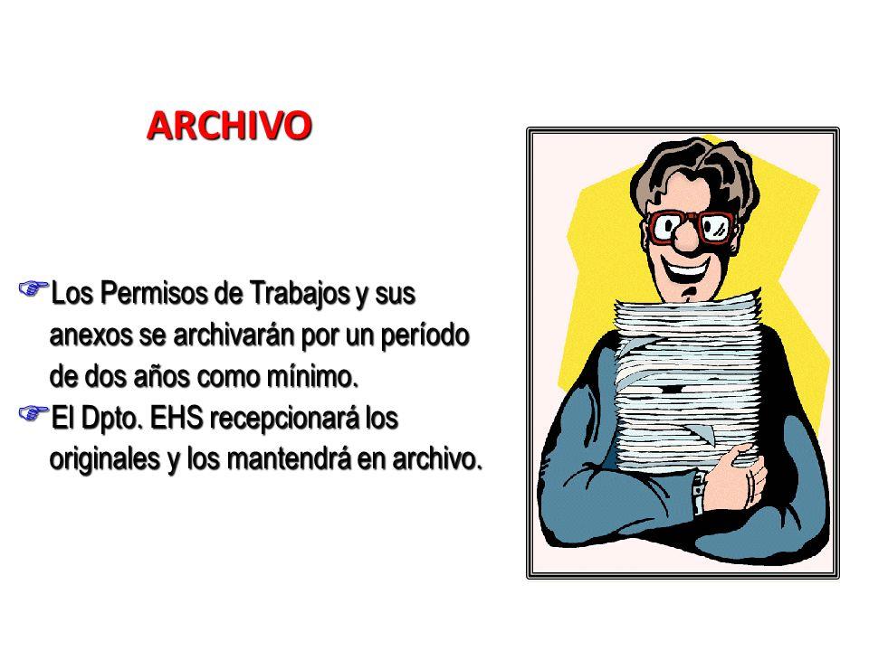 ARCHIVO Los Permisos de Trabajos y sus anexos se archivarán por un período de dos años como mínimo. Los Permisos de Trabajos y sus anexos se archivará