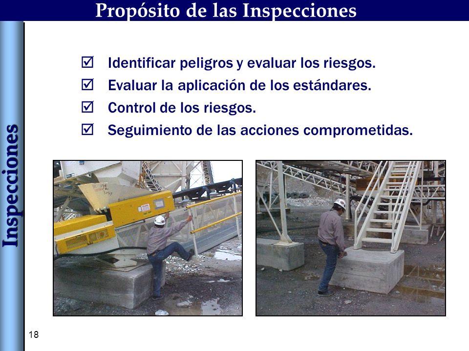 18 Identificar peligros y evaluar los riesgos. Evaluar la aplicación de los estándares. Control de los riesgos. Seguimiento de las acciones comprometi