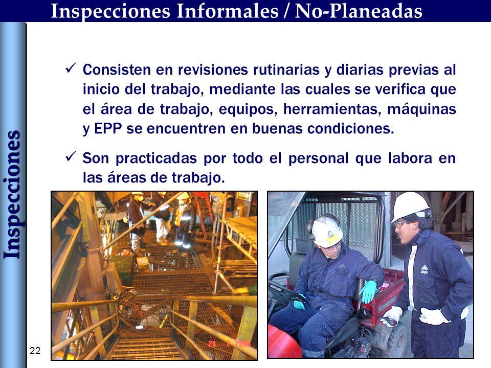 22 Inspecciones Informales / No-Planeadas Consisten en revisiones rutinarias y diarias previas al inicio del trabajo, mediante las cuales se verifica