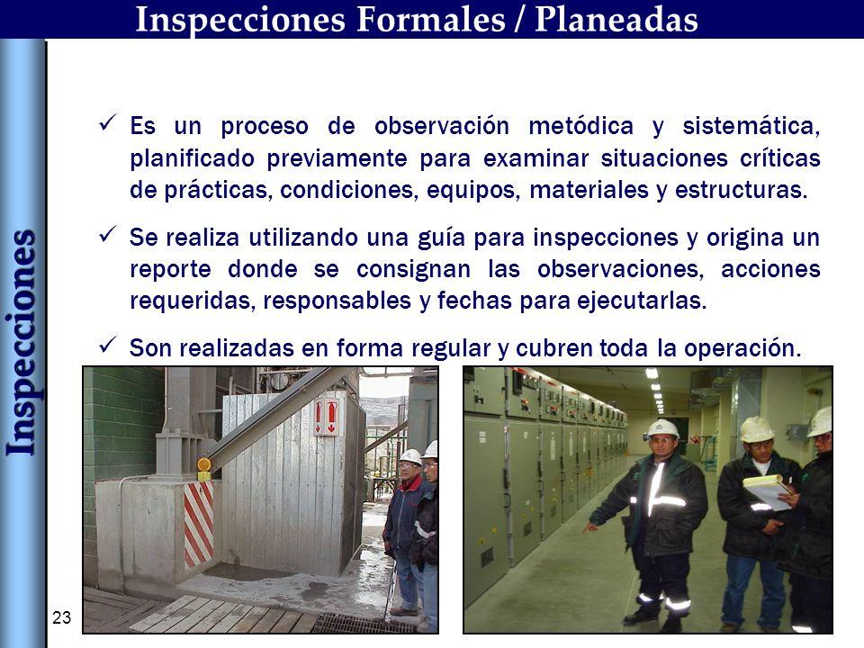 23 Inspecciones Formales / Planeadas Es un proceso de observación metódica y sistemática, planificado previamente para examinar situaciones críticas d