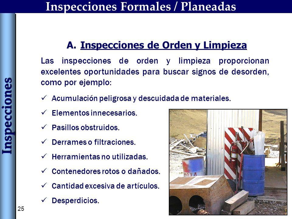 25 Acumulación peligrosa y descuidada de materiales. Elementos innecesarios. Pasillos obstruidos. Derrames o filtraciones. Herramientas no utilizadas.