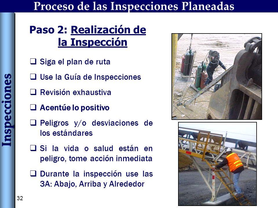 32 Paso 2: Realización de la Inspección Siga el plan de ruta Use la Guía de Inspecciones Revisión exhaustiva Acentúe lo positivo Peligros y/o desviaci