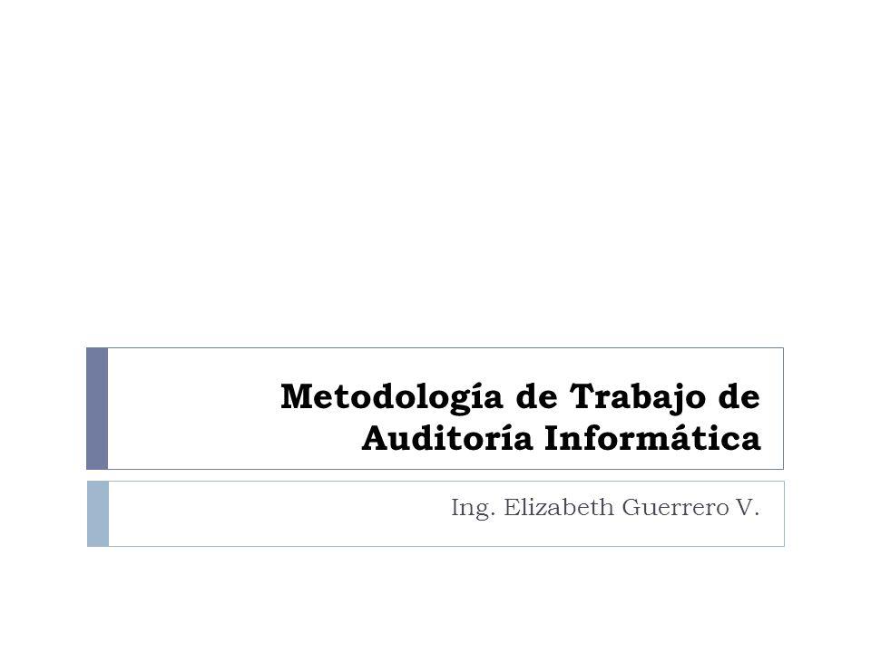 Metodología de Trabajo de Auditoría Informática Ing. Elizabeth Guerrero V.