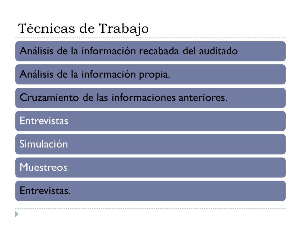 Técnicas de Trabajo Análisis de la información recabada del auditado Análisis de la información propia.Cruzamiento de las informaciones anteriores.Ent