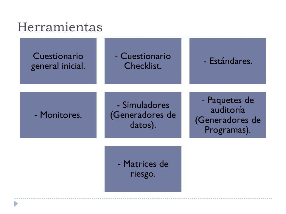 Herramientas Cuestionario general inicial. - Cuestionario Checklist. - Estándares. - Monitores. - Simuladores (Generadores de datos). - Paquetes de au