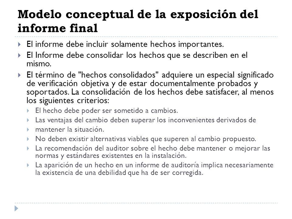 Modelo conceptual de la exposición del informe final El informe debe incluir solamente hechos importantes. El Informe debe consolidar los hechos que s