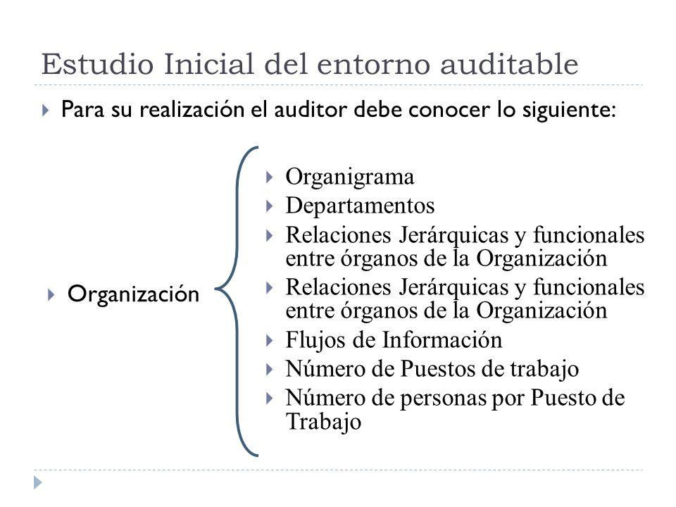 Estudio Inicial del entorno auditable Para su realización el auditor debe conocer lo siguiente: Organización Organigrama Departamentos Relaciones Jerá