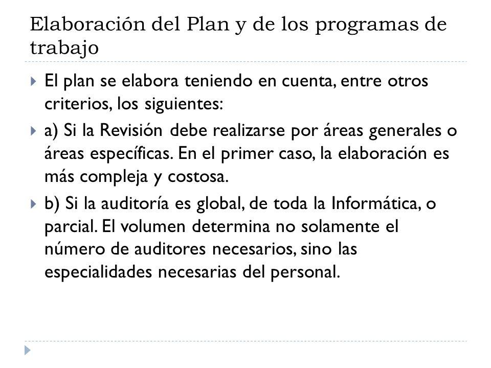 Elaboración del Plan y de los programas de trabajo El plan se elabora teniendo en cuenta, entre otros criterios, los siguientes: a) Si la Revisión deb