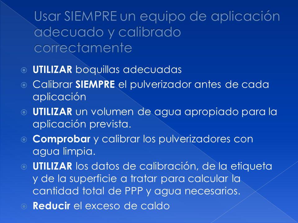 UTILIZAR boquillas adecuadas Calibrar SIEMPRE el pulverizador antes de cada aplicación UTILIZAR un volumen de agua apropiado para la aplicación previs