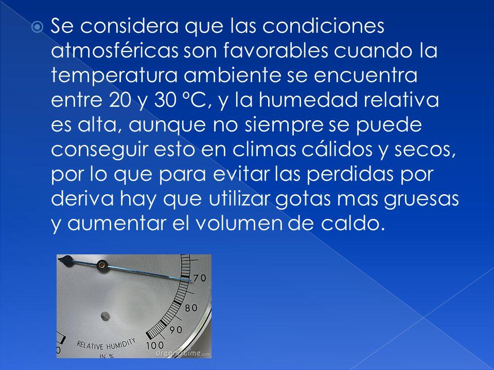 Se considera que las condiciones atmosféricas son favorables cuando la temperatura ambiente se encuentra entre 20 y 30 ºC, y la humedad relativa es al