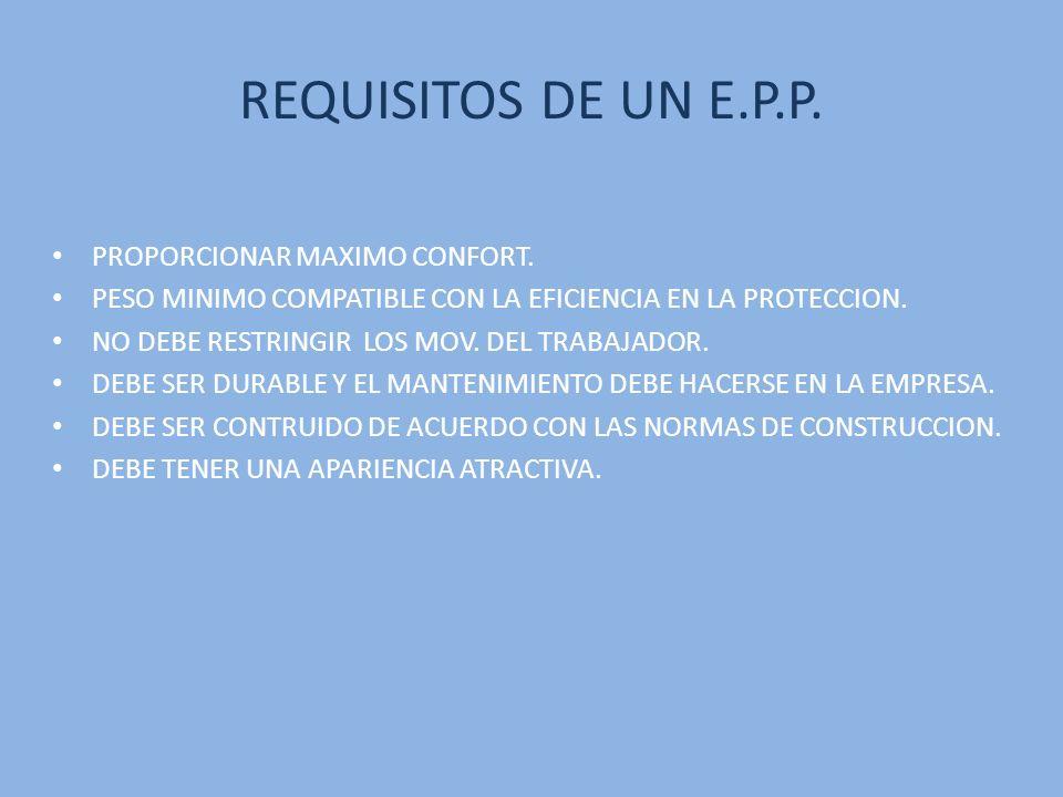 CLASIFICACION DE LOS E.P.P.