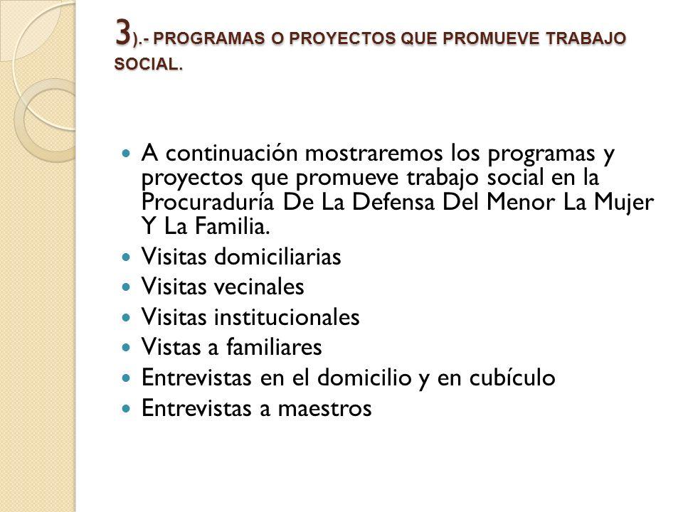 3 ).- PROGRAMAS O PROYECTOS QUE PROMUEVE TRABAJO SOCIAL. A continuación mostraremos los programas y proyectos que promueve trabajo social en la Procur