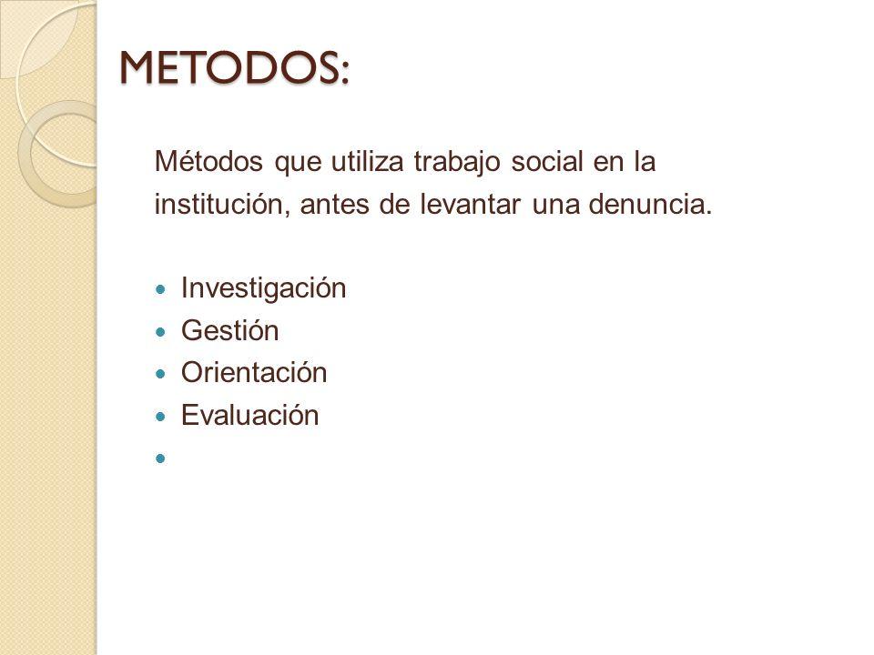 METODOS: METODOS: Métodos que utiliza trabajo social en la institución, antes de levantar una denuncia. Investigación Gestión Orientación Evaluación