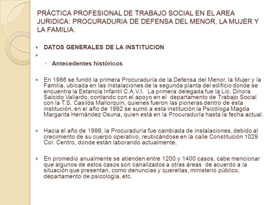 PRÁCTICA PROFESIONAL DE TRABAJO SOCIAL EN EL AREA JURIDICA: PROCURADURIA DE DEFENSA DEL MENOR, LA MUJER Y LA FAMILIA. DATOS GENERALES DE LA INSTITUCIO