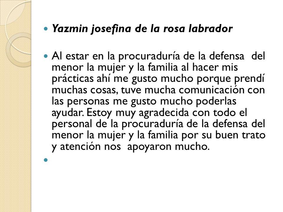Yazmin josefina de la rosa labrador Al estar en la procuraduría de la defensa del menor la mujer y la familia al hacer mis prácticas ahí me gusto much