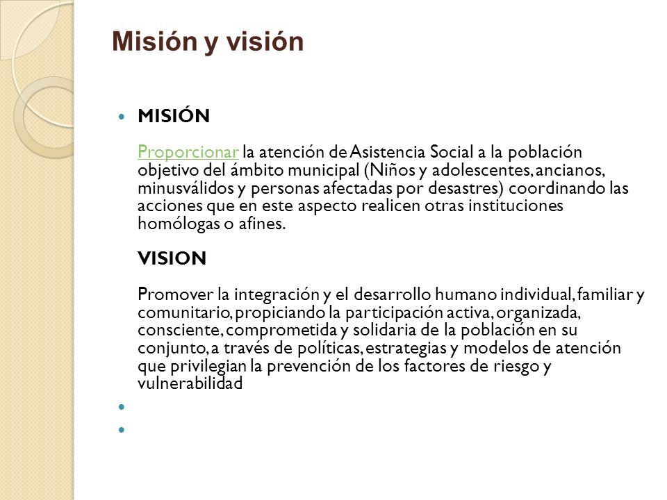 Misión y visión MISIÓN Proporcionar la atención de Asistencia Social a la población objetivo del ámbito municipal (Niños y adolescentes, ancianos, min