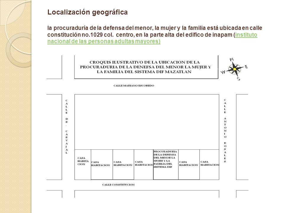 Localización geográfica la procuraduría de la defensa del menor, la mujer y la familia está ubicada en calle constitución no.1029 col. centro, en la p