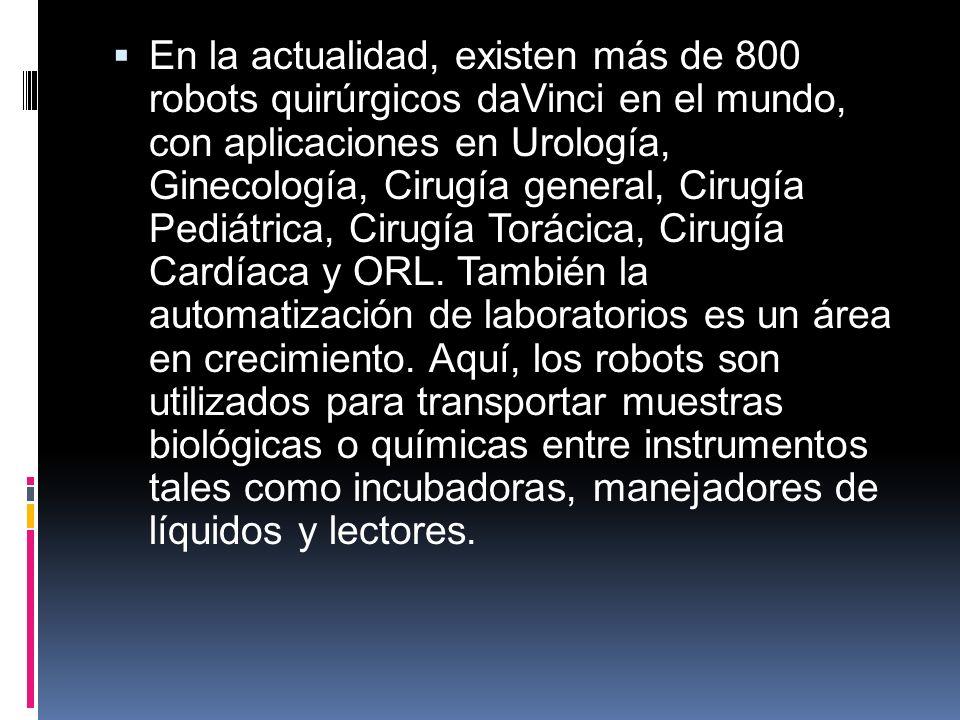En la actualidad, existen más de 800 robots quirúrgicos daVinci en el mundo, con aplicaciones en Urología, Ginecología, Cirugía general, Cirugía Pediátrica, Cirugía Torácica, Cirugía Cardíaca y ORL.