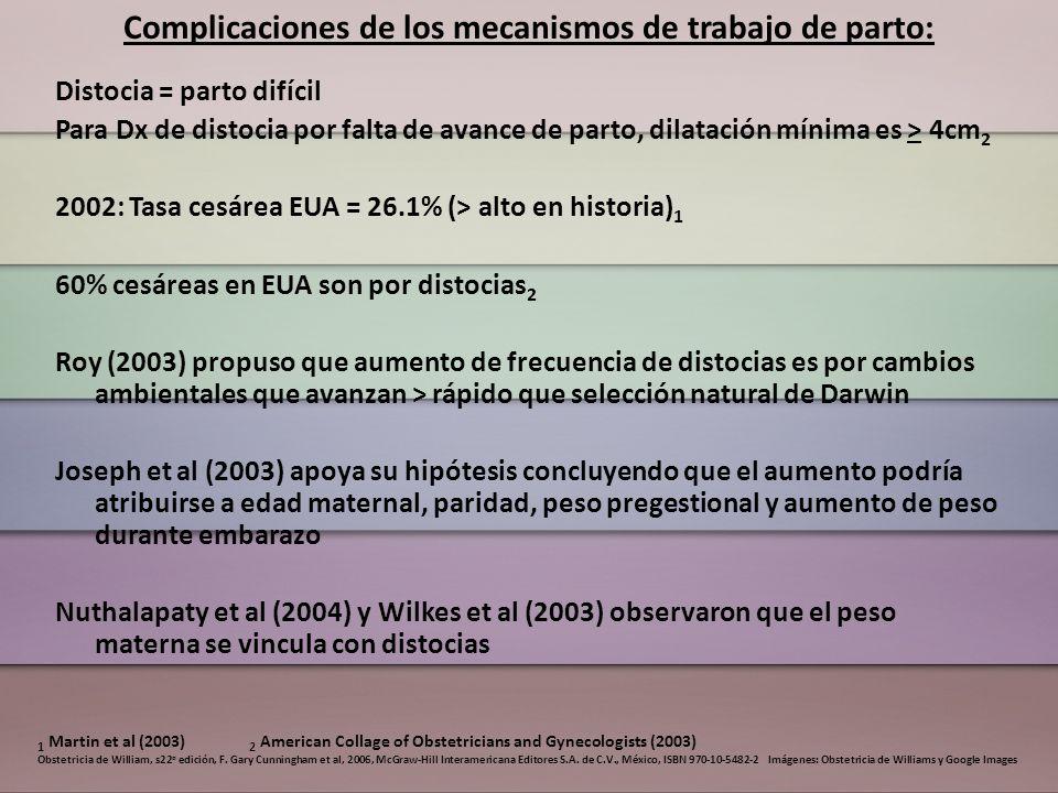 Complicaciones de los mecanismos de trabajo de parto: Distocia = parto difícil Para Dx de distocia por falta de avance de parto, dilatación mínima es