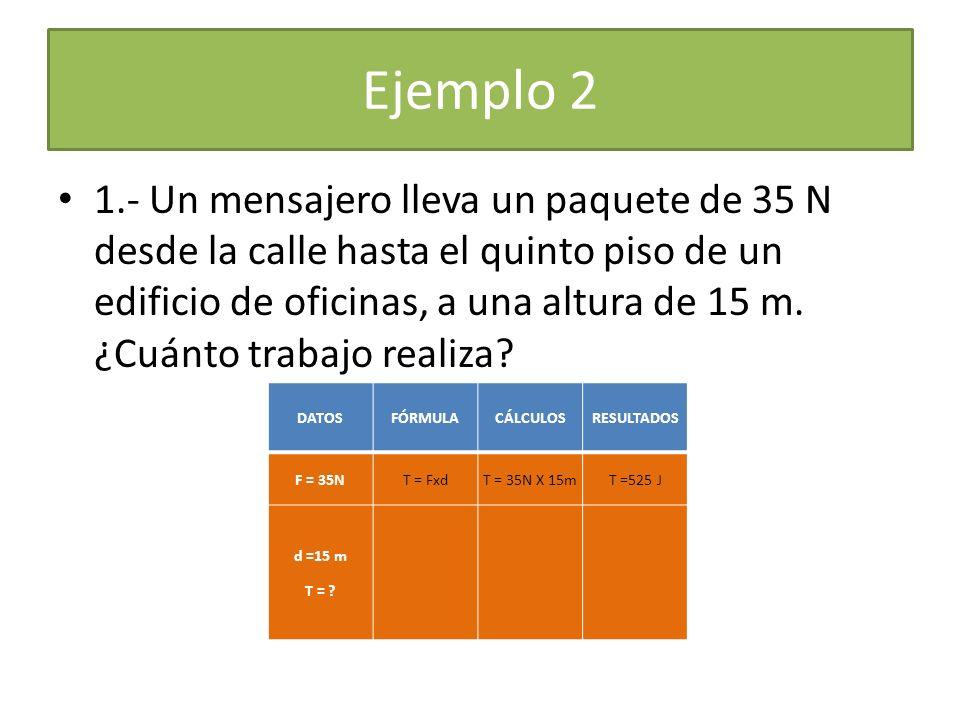 Ejemplo 2 1.- Un mensajero lleva un paquete de 35 N desde la calle hasta el quinto piso de un edificio de oficinas, a una altura de 15 m. ¿Cuánto trab