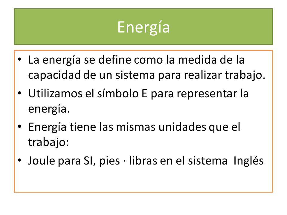 Energía La energía se define como la medida de la capacidad de un sistema para realizar trabajo. Utilizamos el símbolo E para representar la energía.