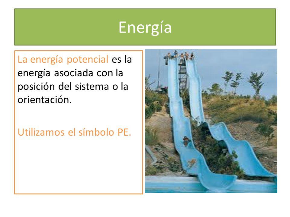 Energía La energía potencial es la energía asociada con la posición del sistema o la orientación. Utilizamos el símbolo PE.