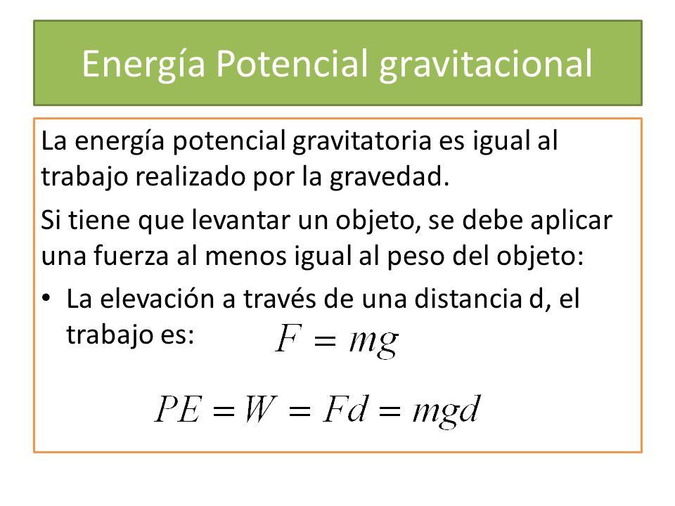 Energía Potencial gravitacional La energía potencial gravitatoria es igual al trabajo realizado por la gravedad. Si tiene que levantar un objeto, se d