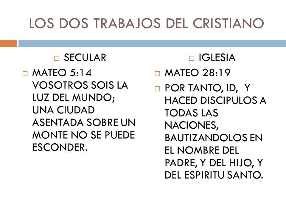 LOS DOS TRABAJOS DEL CRISTIANO SECULAR MATEO 5:14 VOSOTROS SOIS LA LUZ DEL MUNDO; UNA CIUDAD ASENTADA SOBRE UN MONTE NO SE PUEDE ESCONDER. IGLESIA MAT