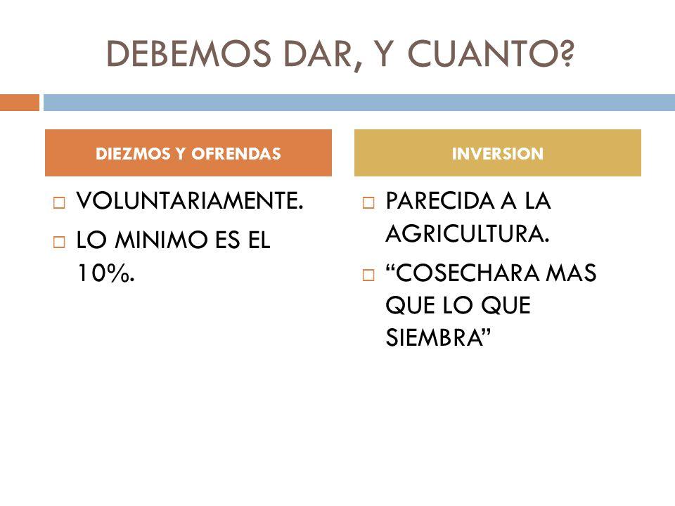 DEBEMOS DAR, Y CUANTO? VOLUNTARIAMENTE. LO MINIMO ES EL 10%. PARECIDA A LA AGRICULTURA. COSECHARA MAS QUE LO QUE SIEMBRA DIEZMOS Y OFRENDASINVERSION
