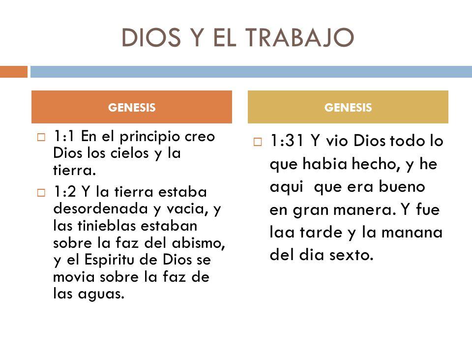 DIOS Y EL TRABAJO GENESIS 2:2 Y ACABO DIOS EN EL DIA SEPTIMO LA OBRA QUE HIZO; Y REPOSO EL DIA SEPTIMO DE TODA LA OBRA QUE HIZO.